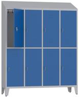 00150427 Szafa ubraniowa na nogach i daszek, 4 segmenty, 8 drzwi (wymiary: 2050x1590x480 mm)