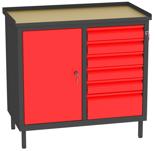 00150659 Szafka warsztatowa, 1 drzwi, 6 szuflad (wymiary: 850x900x505 mm)