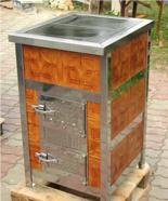 00350298 Piec grzewczy na węgiel 8kW Duży, drzwi chrom