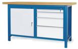 00853639 Stół warsztatowy, 1 drzwi, 4 szuflady (wymiary: 1500x900x740 mm)