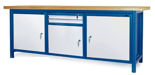 00853664 Stół warsztatowy, 3 drzwi 2 szuflady (wymiary: 2100x900x740 mm)