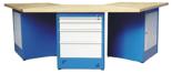 00853710 Stół wyspowy 3-stanowiskowy, 2 drzwi, 4 szuflady (wymiary: 3000x1300x900 mm)