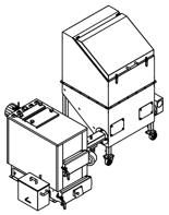 06652957 Automatyczny zestaw do spalania biomasy 2m3 230V 30kW, głowica: żeliwna, z systemem usuwania popiołu (paliwo: trociny, wióry, zrębki, kora, brykiet, agrobrykiet, pellet, pestki owoców)