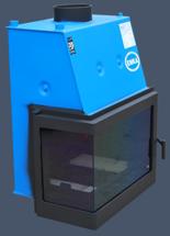 17043651 Wkład kominkowy Enka 15kW Wiktor Lewy UO - układu z naczyniem wyrównawczym otwartym z płaszczem wodnym (lewa boczna szyba)