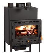 23055379 Wkład kominkowy 18kW z płaszczem wodnym + doprowadzenie ciepłego powietrza (prosta szyba)