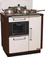 25942765 Kuchnia węglowa 9,2kW KATARZYNA z wężownicą, wylot spalin z tyłu z lewej strony (kolor: biały i brązowy)