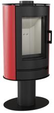 30055004 Piec wolnostojący koza 8kW AB STAL NOGA z wylotem spalin fi 150 (z panelami kaflowymi - czerwony)