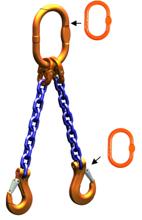 33948220 Zawiesie łańcuchowe dwucięgnowe klasy 10 miproSling AS 20,0/14,0 (długość łańcucha: 1m, udźwig: 14-20 T, średnica łańcucha: 19 mm, wymiary ogniwa: 260x140 mm)