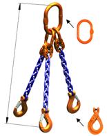 33948227 Zawiesie łańcuchowe trzycięgnowe klasy 10 miproSling LCS 21,2/15,0 (długość łańcucha: 1m, udźwig: 15-21,2 T, średnica łańcucha: 16 mm, wymiary ogniwa: 260x140 mm)