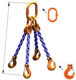 33948233 Zawiesie łańcuchowe czterocięgnowe klasy 10 miproSling HCS 21,2/15,0 (długość łańcucha: 1m, udźwig: 15-21,2 T, średnica łańcucha: 16 mm, wymiary ogniwa: 260x140 mm)