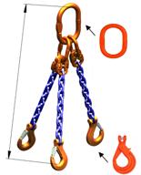 33948277 Zawiesie łańcuchowe trzycięgnowe klasy 10 miproSling KLHW 40,0/28,0 (długość łańcucha: 1m, udźwig: 28-40 T, średnica łańcucha: 22 mm, wymiary ogniwa: 350x190 mm)