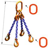 33948296 Zawiesie łańcuchowe czterocięgnowe klasy 10 miproSling A8W 30,0/21,2 (długość łańcucha: 1m, udźwig: 21,2-30 T, średnica łańcucha: 19 mm, wymiary ogniwa: 350x190 mm)