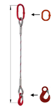 33948337 Zawiesie linowe jednocięgnowe miproSling HE 17,00 (długość liny: 1m, udźwig: 17 T, średnica liny: 40 mm, wymiary ogniwa: 275x150 mm)