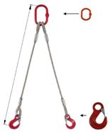 33948366 Zawiesie linowe dwucięgnowe miproSling HE 19,0/14,0 (długość liny: 1m, udźwig: 14-19 T, średnica liny: 36 mm, wymiary ogniwa: 275x150 mm)