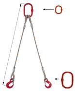 33948386 Zawiesie linowe dwucięgnowe miproSling T 15,0/11,0 (długość liny: 1m, udźwig: 11-15 T, średnica liny: 32 mm, wymiary ogniwa: 275x150 mm)