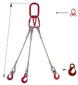 33948407 Zawiesie linowe trzycięgnowe miproSling HE 15,0/11,0 (długość liny: 1m, udźwig: 11-15 T, średnica liny: 26 mm, wymiary ogniwa: 230x130 mm)