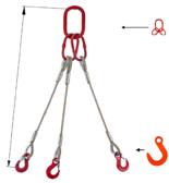 33948427 Zawiesie linowe trzycięgnowe miproSling FW 44,0/31,5 (długość liny: 1m, udźwig: 31,5-44 T, średnica liny: 44 mm, wymiary ogniwa: 350x190 mm)
