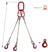 33948430 Zawiesie linowe trzycięgnowe miproSling LE 13,5/9,4 (długość liny: 1m, udźwig: 9,4-13,5 T, średnica liny: 24 mm, wymiary ogniwa: 230x130 mm)