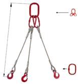 33948442 Zawiesie linowe trzycięgnowe miproSling T 62,0/44,0 (długość liny: 1m, udźwig: 44-62 T, średnica liny: 52 mm, wymiary ogniwa: 460x250 mm)