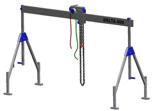 33960005 Wciągarka bramowa aluminiowa z wózkiem pchanym i wciągnikiem łańcuchowym miproCrane DELTA 400S (udźwig: 1000 kg, szerokość: 7100 mm, wysokość: 2120/3370 mm)