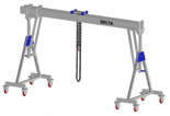 33960095 Wciągarka bramowa aluminiowa z możliwością przejazdu pod obciążeniem, z wózkiem pchanym i wciągnikiem łańcuchowym miproCrane DELTA 800M (udźwig: 2000 kg, szerokość: 5100 mm, wysokość: 2210/2560 mm)