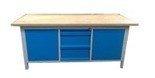 77156923 Stół warsztatowy z nadbudową, 3 szuflady, 2 szafki (wymiary: 2000x750x900 mm)