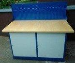 77156976 Stół warsztatowy z niską nadbudową, 2 szafki (wymiary: 1500x750x900 mm)