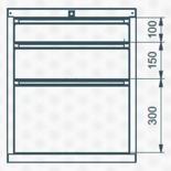 99551624 Szafka typ B, 3 szuflady (wymiary: 625x520x550 mm)