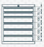 99551637 Szafka typ O, 6 szuflad (wymiary: 625x520x550 mm)