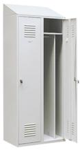 99552181 Szafka ubraniowa 0,8mm ze skośnym daszkiem, zamek ryglujący drzwi w 3 punktach, 2 drzwi (wymiary: 2000x600x490 mm)