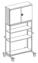 99552469 Szafka warsztatowa na kółkach, 3 półki, 2 drzwi (wymiary: 2700x1200x800 mm)