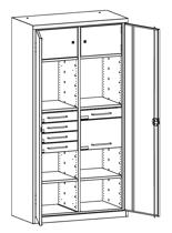 99552495 Szafa warsztatowa, 4 półki, 5 szuflad (wymiary: 1950x1200x500 mm)