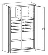 99552500 Szafa warsztatowa, 2 półki, 12 szuflad (wymiary: 1950x1000x500 mm)