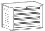99552537 Wózek warsztatowy, 4 szuflady (wymiary: 516x790x490 mm)