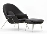 99851063 Fotel Snug z podnóżkiem inspirowany Womb (kolor: szary)