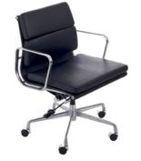 99851105 Fotel biurowy CH inspirowany EA217 skóra, chrom (kolor: czarny)