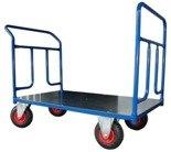 DOSTAWA GRATIS! 13340613 Wózek platformowy ręczny dwuburtowy 2BKB (koła: pneumatyczne 225 mm, nośność: 250 kg, wymiary: 1000x700 mm)