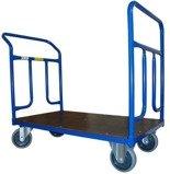 DOSTAWA GRATIS! 13340615 Wózek platformowy ręczny dwuburtowy 2BKB (koła: pełna guma 160 mm, nośność: 400 kg, wymiary: 1200x700 mm)