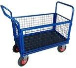 DOSTAWA GRATIS! 13340623 Wózek platformowy ręczny osiatkowany OS (koła: pneumatyczne 225 mm, nośność: 250 kg, wymiary: 1200x700x500 mm)