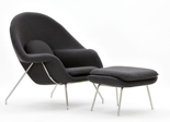 DOSTAWA GRATIS! 99851063 Fotel Snug z podnóżkiem inspirowany Womb (kolor: szary ciemny)