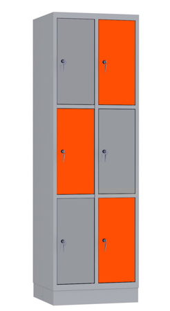 00141886 Szafa skrytkowa, 2 segmenty, 6 skrytek (wymiary: 1950x610x480 mm)