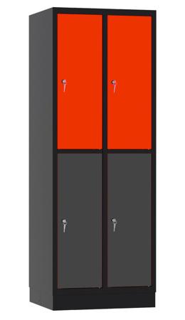 00141905 Szafa skrytkowa, 2 segmenty, 4 skrytki (wymiary: 1950x710x480 mm)