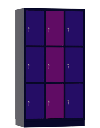 00141911 Szafa skrytkowa, 3 segmenty, 9 skrytek (wymiary: 1950x1050x480 mm)