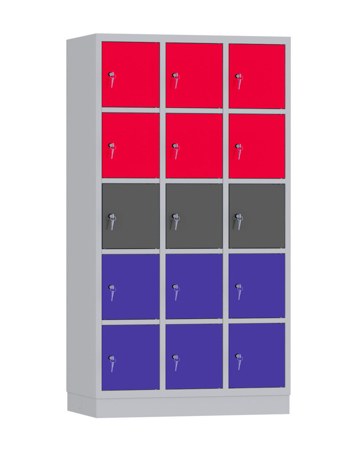 00141913 Szafa skrytkowa, 3 segmenty, 15 skrytek (wymiary: 1950x1050x480 mm)