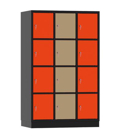 00141927 Szafa skrytkowa, 3 segmenty, 12 skrytek (wymiary: 1950x1200x480 mm)