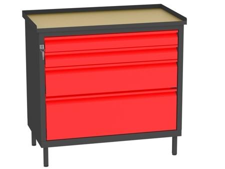 00142065 Szafka warsztatowa, 4 szuflady (wymiary: 850x900x505 mm)
