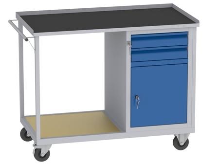 00142071 Wózek platformowy, 1 drzwi, 2 szuflady (wymiary: 890x1150x590 mm)
