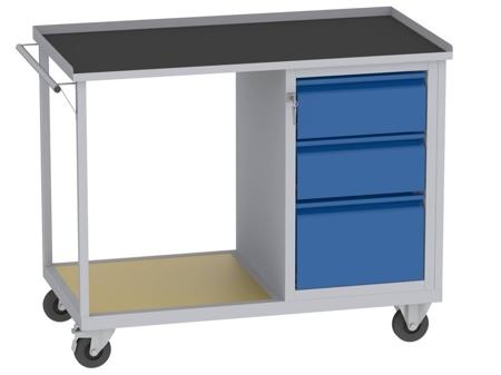 00142072 Wózek platformowy, 3 szuflady (wymiary: 890x1150x590 mm)