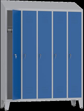 00150415 Szafa ubraniowa na nogach i daszek, 5 segmentów, 5 drzwi (wymiary: 2050x1480x480 mm)