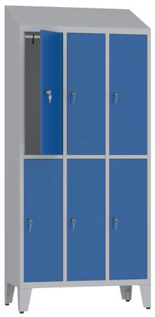 00150418 Szafa ubraniowa na nogach i daszek, 3 segmenty, 6 drzwi (wymiary: 2050x900x480 mm)